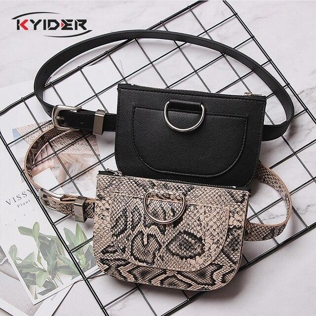 KYIDER Мода Змеиная поясная Сумка женская кожаная поясная сумка винтажные поясные сумки карман для телефона