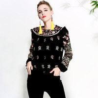 Women's blouse shirt spring and summer runway new retro folk embroidery loose ladies black/white shirt lantern sleeve top M XXL
