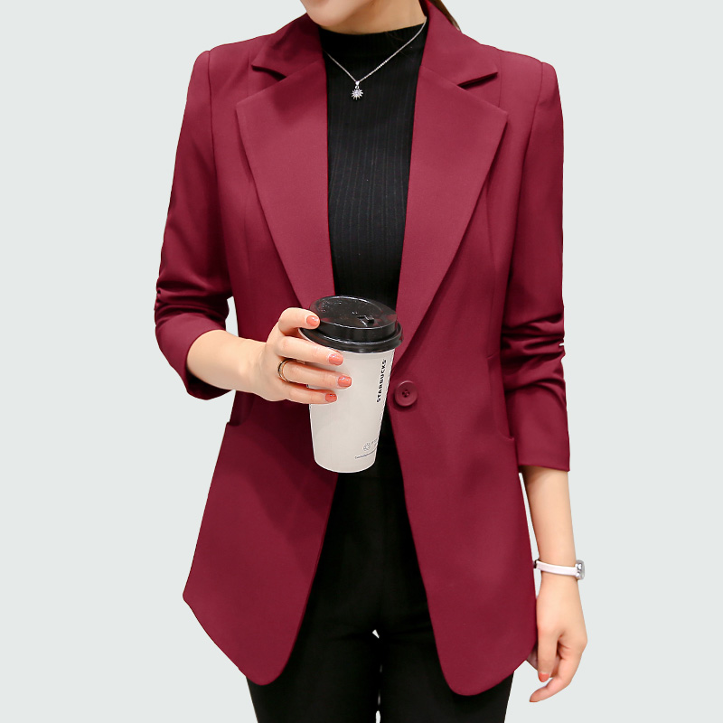 cbdb98a98ebdc Wine Red Black Women Blazers And Jackets 2018 New Spring Autumn Fashion  Single Button Blazer Femenino