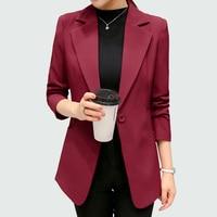 Wine Red Black Women Blazers And Jackets 2018 New Spring Autumn Fashion Single Button Blazer Femenino Ladies Blazer Female