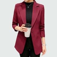 Wine Red Black Women Blazers And Jackets 2017 New Spring Autumn Fashion Single Button Blazer Femenino