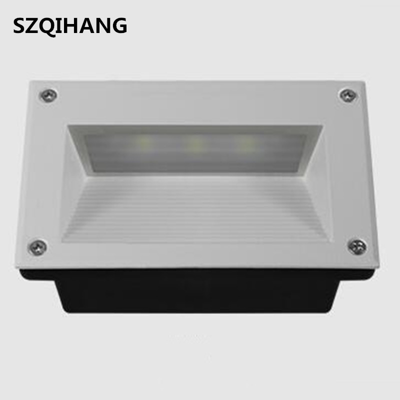 Sunny Dhl Free Shipping Led Stair Light Ac85v-260v 9w Square Recessed Step Lamps With Light Sensor Footlight 160mm Size Wall Lamp Bright And Translucent In Appearance Led Lamps