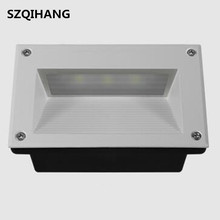 DHL free shipping LED Stair Light AC85V-260V 9W Square Recessed Step Lamps With Light Sensor Footlight  160mm Size Wall Lamp
