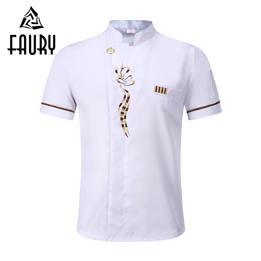 Unisex Stand Collar Short Sleeve Embroidery Floral Chef Kitchen Cook Work Food Service Waiter Bakery Cafe Uniform Jackets Aprons