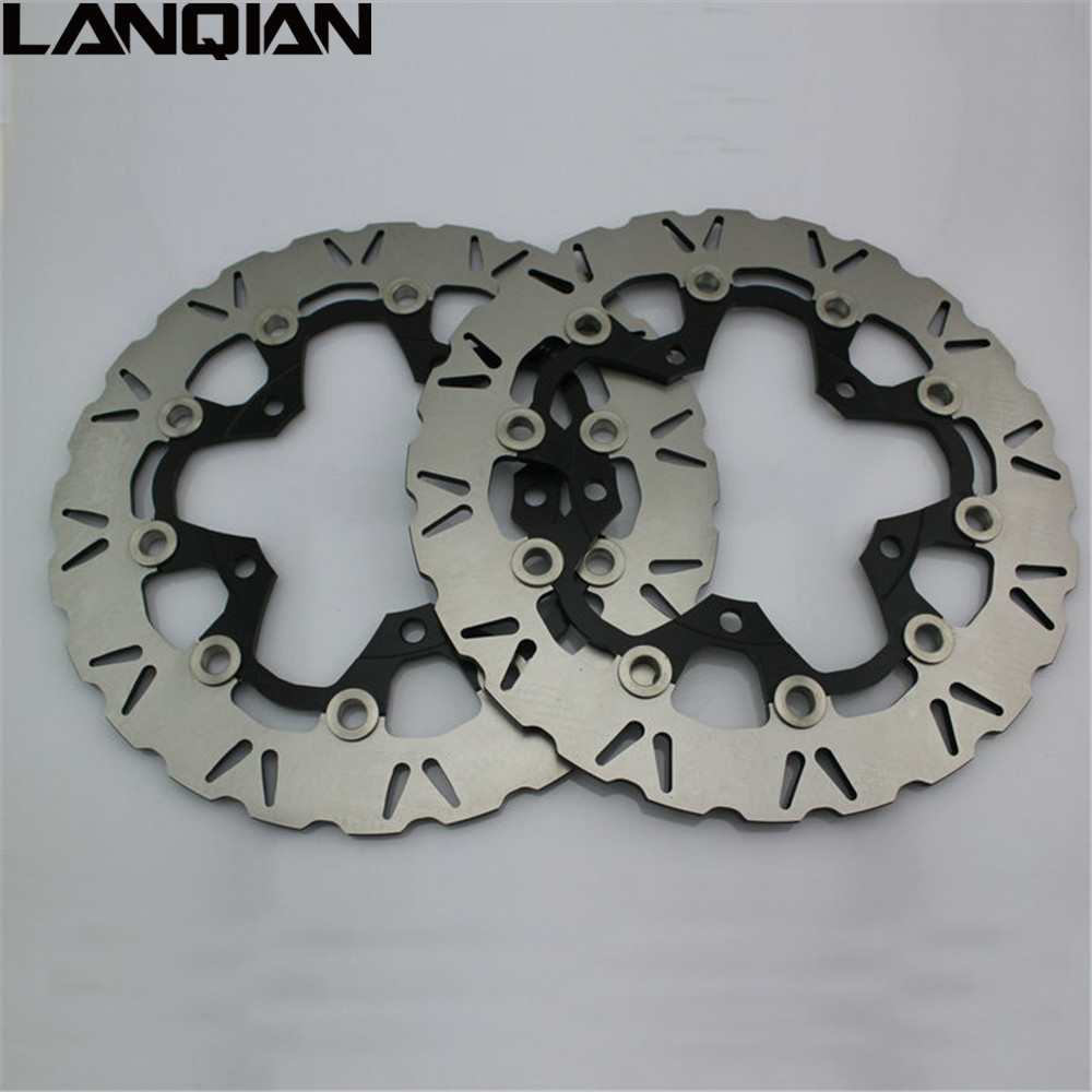 2PCS Motorcycle Front Floating Brake Disc Rotor For SUZUKI GSXR1300 GSXR HAYABUSA 1300 2008 - 2015 2009 2010 2011 2012 2013 2014 keoghs real adelin 260mm floating brake disc high quality for yamaha scooter cygnus modify