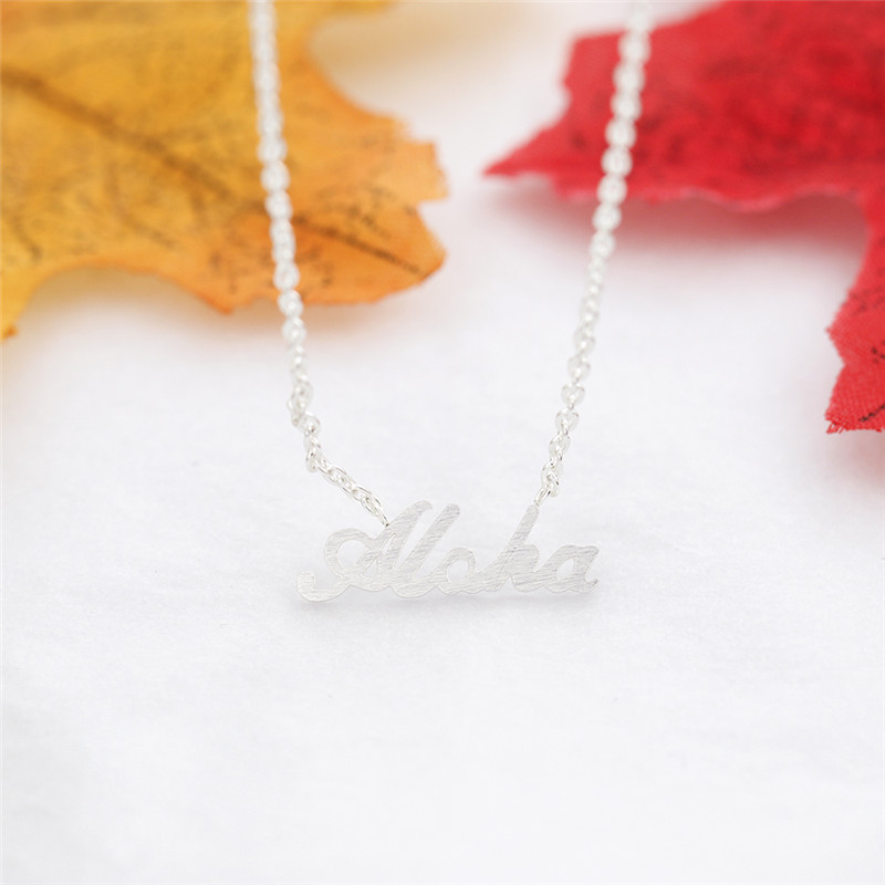 US $14 96 12% OFF|Wholesale Hawaiian Lettering Cursive Aloha Necklace  Pendant Women Jewelry Stainless Steel Ketting Collier Femme Best Friend  Gift-in