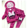 Children Clothing Baby Girl Sets Baby Girls Kids Long Sleeve Bowknot Hoodies Sportswear Butterfly Cute Clothies Sets Outfit Suit