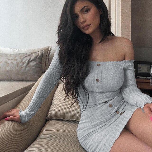 Kylie jenner Off Shoulder Women Sheath Dress Sexy Single Buttons Solid Women Mini Dress Long Sleeve Femme Dress Shirt dress 2