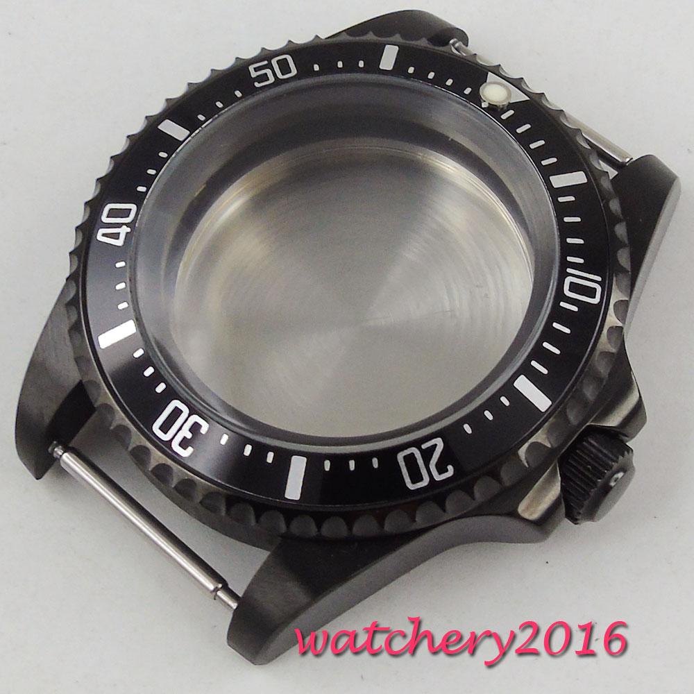 42mm PARNIS aluminum alloy bezel fit eta 2824 2836 automatic movement Watch Case 42mm pvd coated case black aluminum alloy bezel watch case fit eta 2824 2836 dg2813 3804 miota 8215 8205 821a movement c18