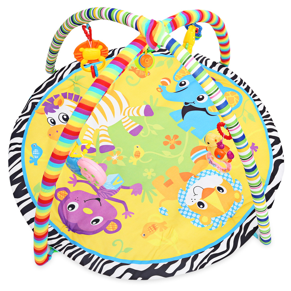 Kids Soft Play Mat Cartoon Animal Gym Fitness Blanket with Frame Rattle Crawling Toy Crawling Rugs Playmat Floor Carpet Paradise
