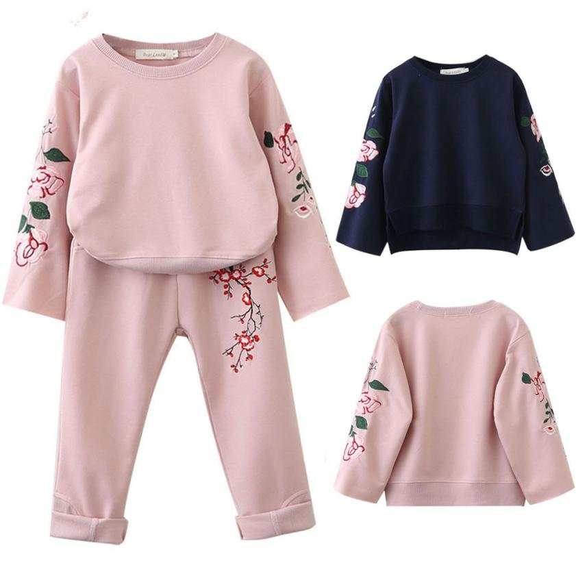 Hot Sale Kids Clothes Children Clothing Beauty Floral Embroidery T-shirt Tops Pants Outfits Girl Clothing Roupas Infantis Menina