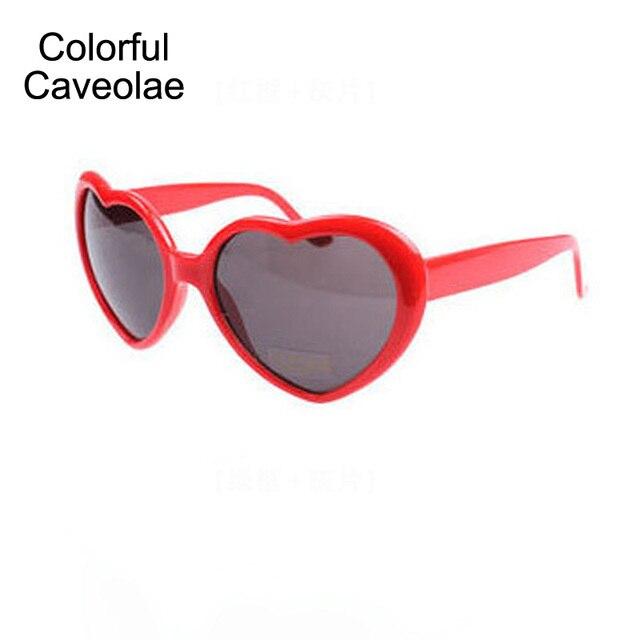 863876fd95caab Kleurrijke Caveolae Zonnebril Vrouw Liefde Hart Mode Lady Zonnebril  Creatieve Individualiteit Vrouw Donkere Bril
