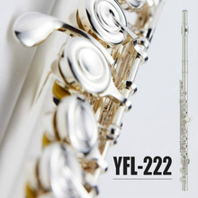 C Tune Flute Cupronickel Tube Silver Plated Flute 17 Holes Open YFL-222 Flute With E Key For Students Musical Instrument