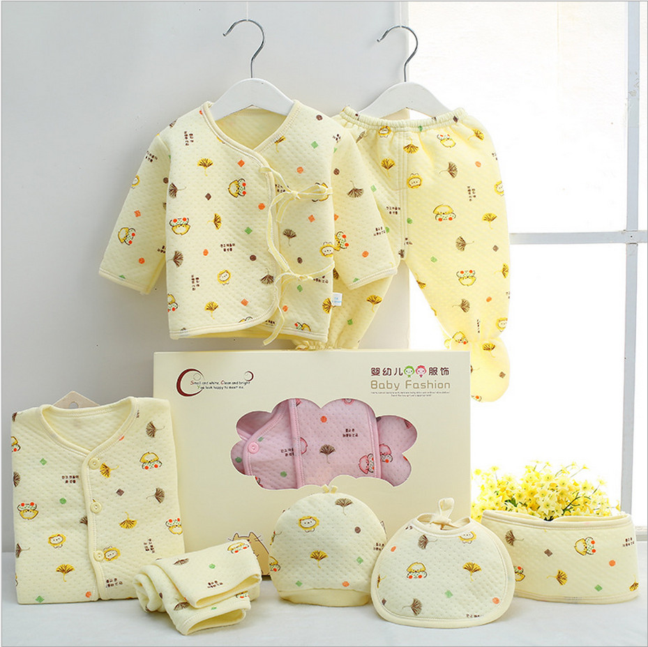 7 Pieces 100% Cotton Newborn Baby Clothing Set Autumn & Winter Clothes Suits Infant Warm Full Month For 0-3M Neonatal