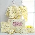 7 Шт. 100% Хлопок Новорожденных Одежда для Новорожденных Набор Осень и Зима Одежда Костюмы Детские Теплые Полный Месяц 0-3 М Новорожденных