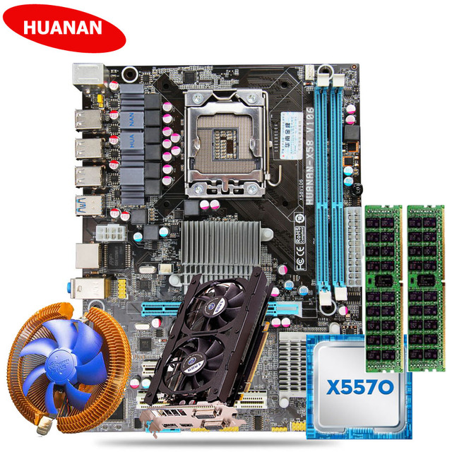 HUANAN X58 motherboard CPU combos with CPU cooler Xeon X5570 (2*8G)16G DDR3 server memory RECC GTX760 2G DDR5 video card