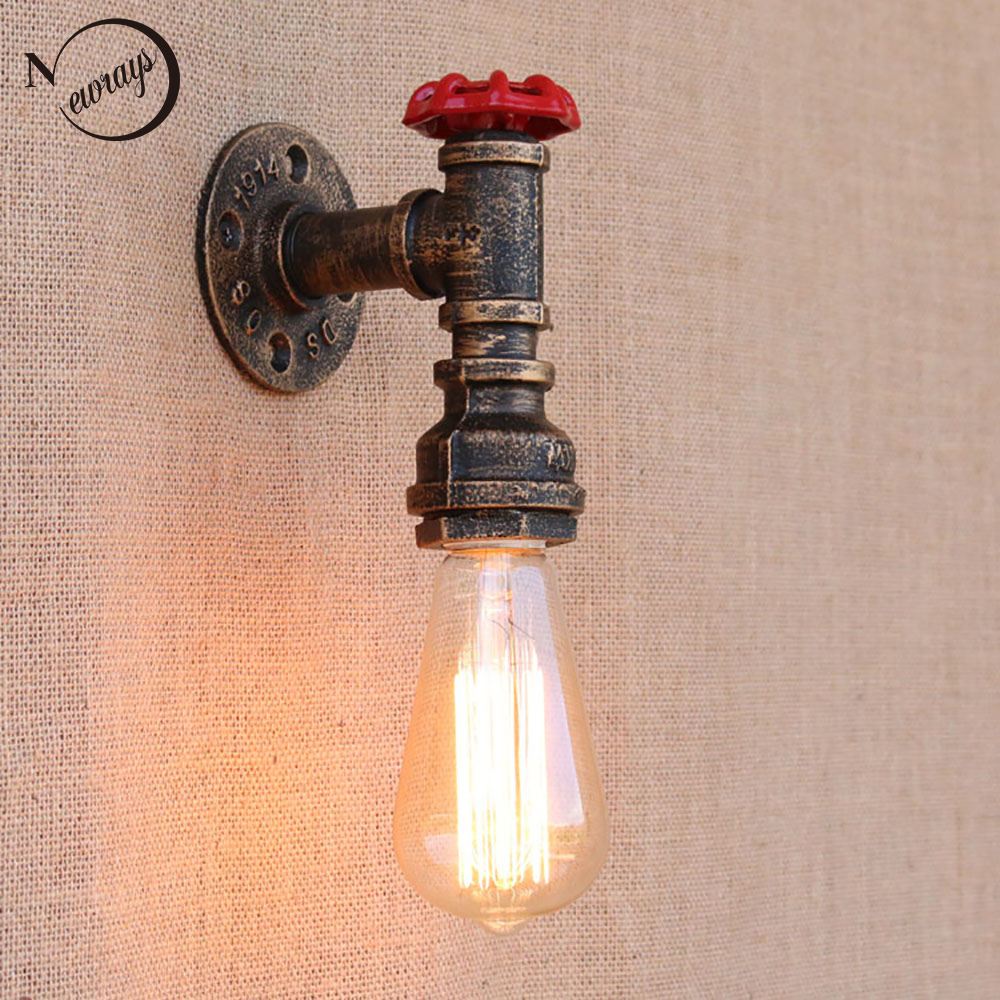 Steam punk Loft Industrial iron rust Water pipe retro wall lamps Vintage E27 LED <font><b>sconce</b></font> wall lights for living room bedroom bar