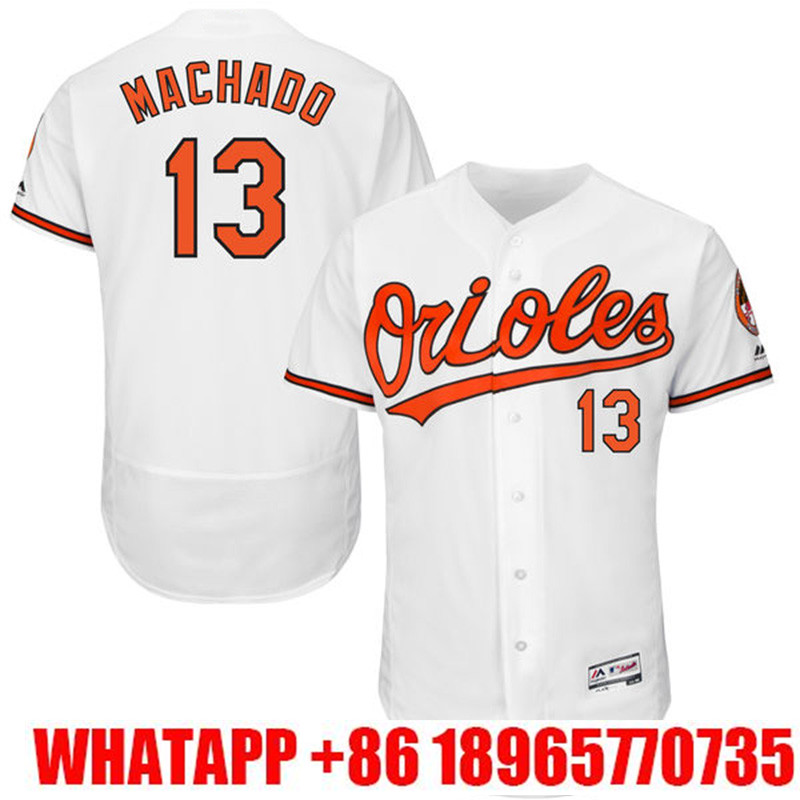 af8c349a543 ... 2016 new 10 Adam Jones 13 jerseys Manny Machado 100% Stitched Logos  Black White Orange ...