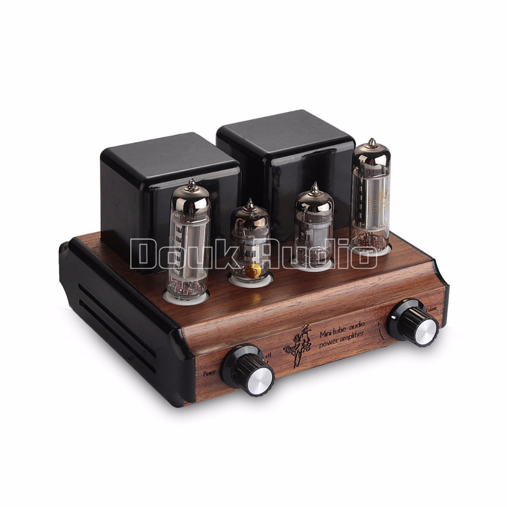 Douk Audio Mini FU17 Vacuum Tube Integrated Amplifier Push-pull Stereo Power Amp 5W*2 Pure handmade Wood Chassis appj pa1501a mini stereo 6ad10 vintage vacuum tube amplifier desktop hifi home audio valve tube integrated power amp
