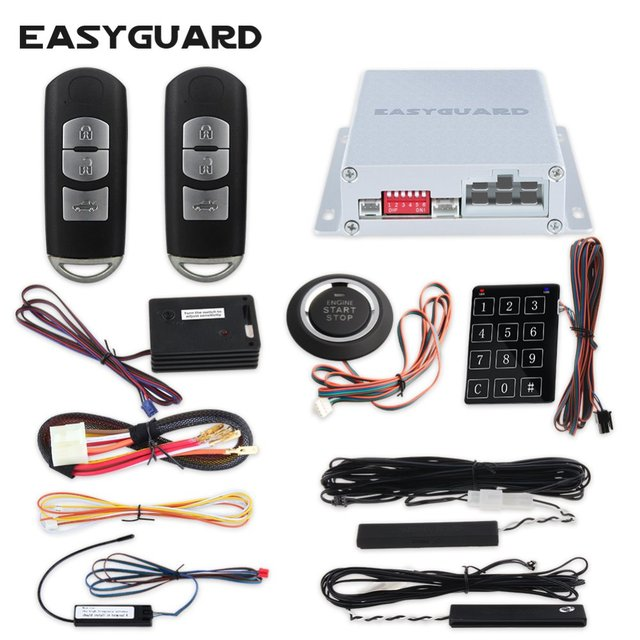 Best Price EASYGUARD PKE car alarm system remote central lock system start stop button keyless go rolling code remote starter shock sensor