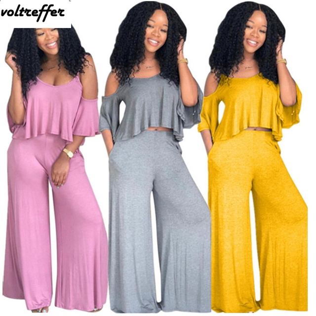 8f480e945adc2 Off Shoulder Crop Top Flare Pants Suits Sexy Casual Outfits Solid Summer  Style Loose Wide Leg Cropped Two Piece Set Costumes