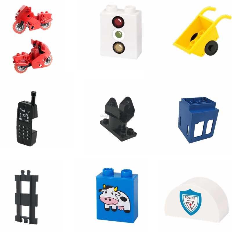 Legoing Duplo аксессуар семейный набор игрушек Кирпичи железная дорога большие Железнодорожные Строительные блоки трейлер телефоны реквизит DIY игрушки Duploed трек