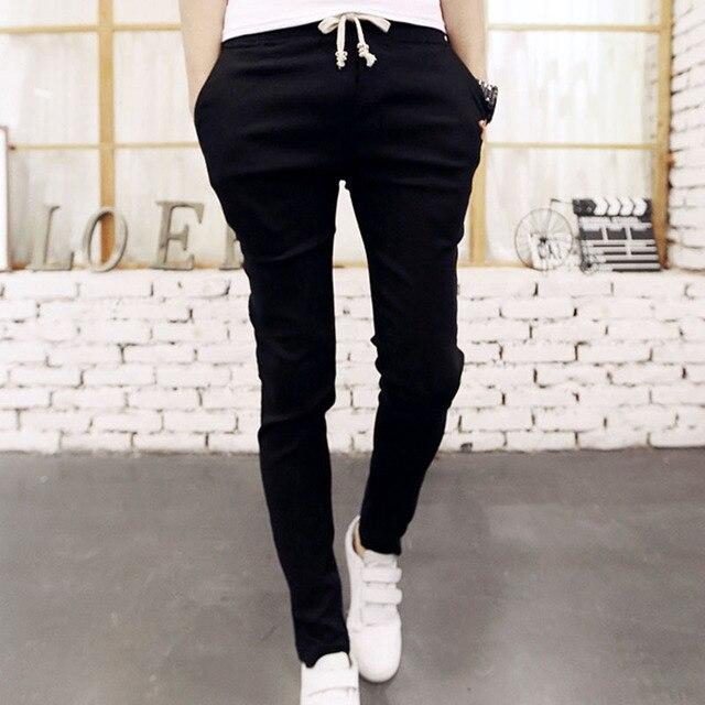 8a63e5ccc Moda 2019 primavera otoño conjunto joggers cintura elástica hombres  pantalones adolescentes casual lápiz pantalones hombre