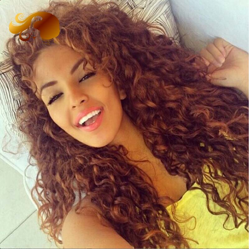 8A Brazilian Human Hair Curly Lace Front Wigs Bleached Knots Color #33 Virgin Full lace Human