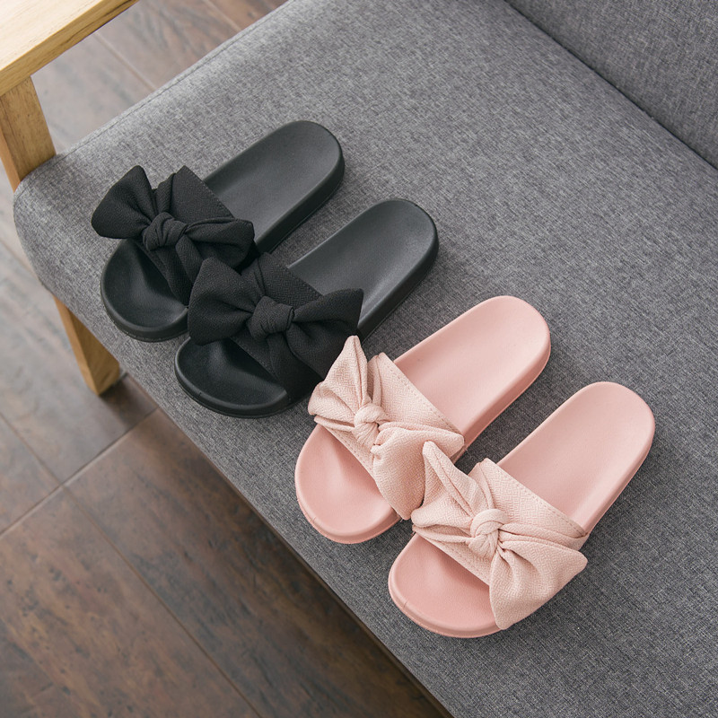 Women Slide Sandals Slides Summer Bow Slippers Flats Beach Slides Home Slippers Slip On Sandals Women Shoes Bothe Flip Flops(China)