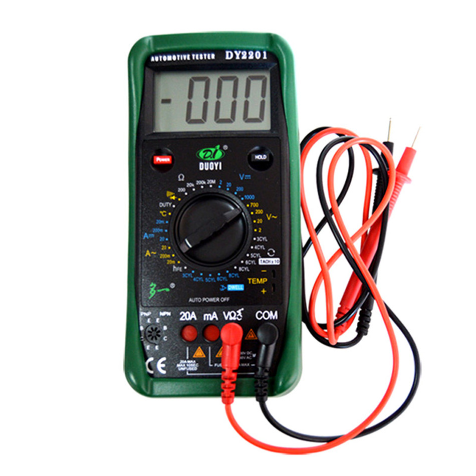 DY2201 Digital Automotive Tester Multimeter 500-10000 RPM Dwell Angle Temperature Meter Handheld Refractometers handheld digital grain temperature 8 20