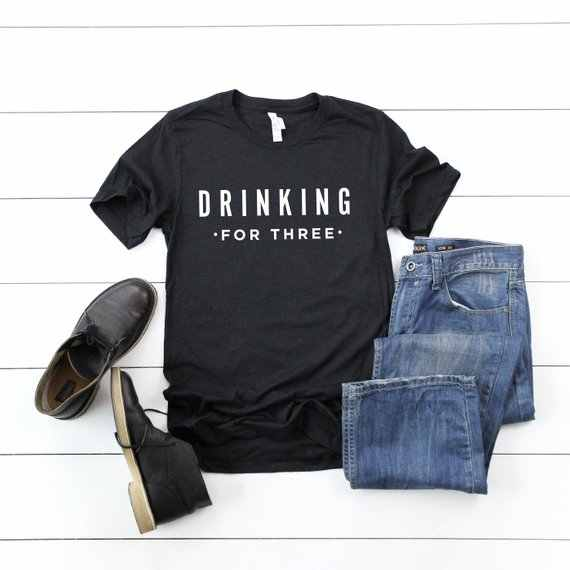 b5cb54a3bf0e1 ... OKOUFEN Pregnancy Announcement DRINKING FOR THREE Sober Baby Family  Matching T-shirt Casual Pregnant New ...