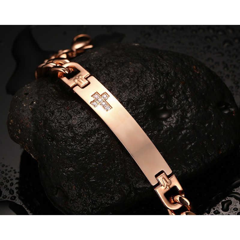 נירוסטה צמידי רוז זהב עם Rhinestones צלב דפוס יד שרשרת משלוח מזהה אותיות לגבר אישה