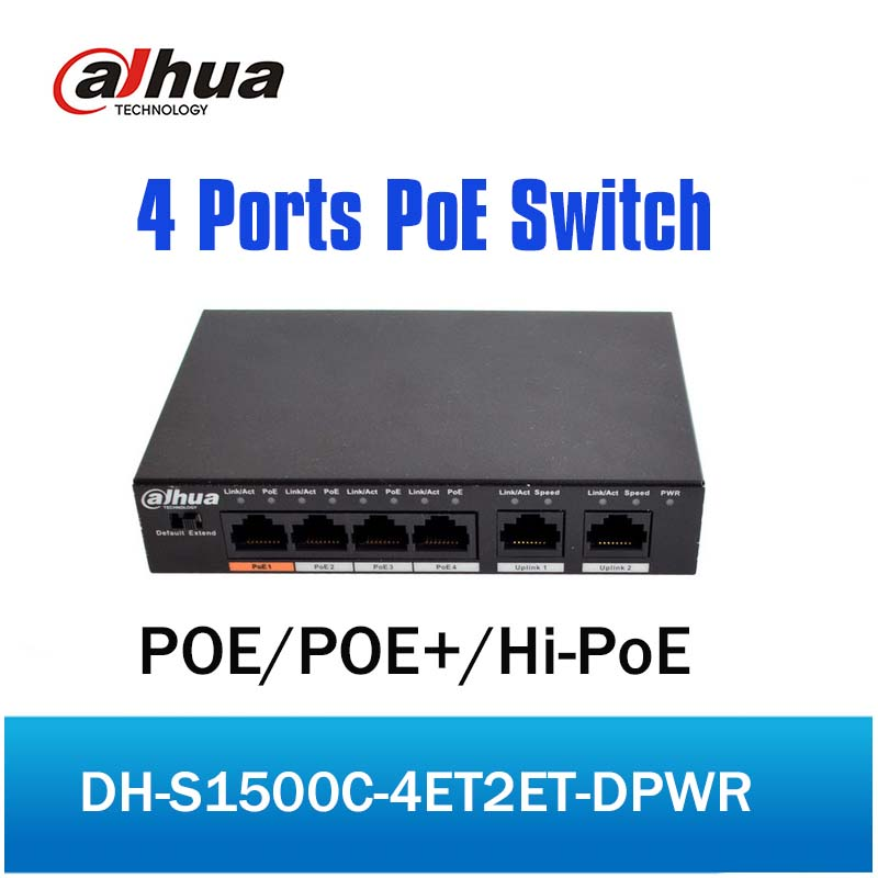 DH 4ch PoE Switch S1500C-4ET2ET-DPWR 4CH Ethernet Switch with 250m Power Transit Distance Support PoE PoE+&Hi-PoE Protocol цена
