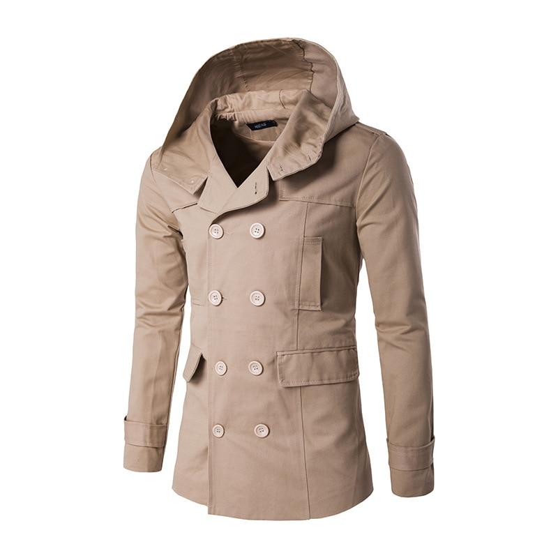 New winter men s fashion after the split hooded windbreaker jacket coat color slim