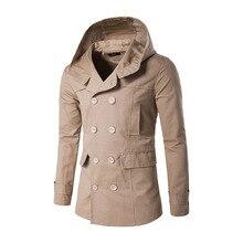 Neue winter herrenmode nach dem split mit kapuze windjacke mantel farbe dünne