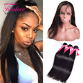 7A Brazilian Virgin Hair with Closure 360 Lace Frontal with Bundle Pre Plucked 360 Lace Frontal Closure With Bundles Straight