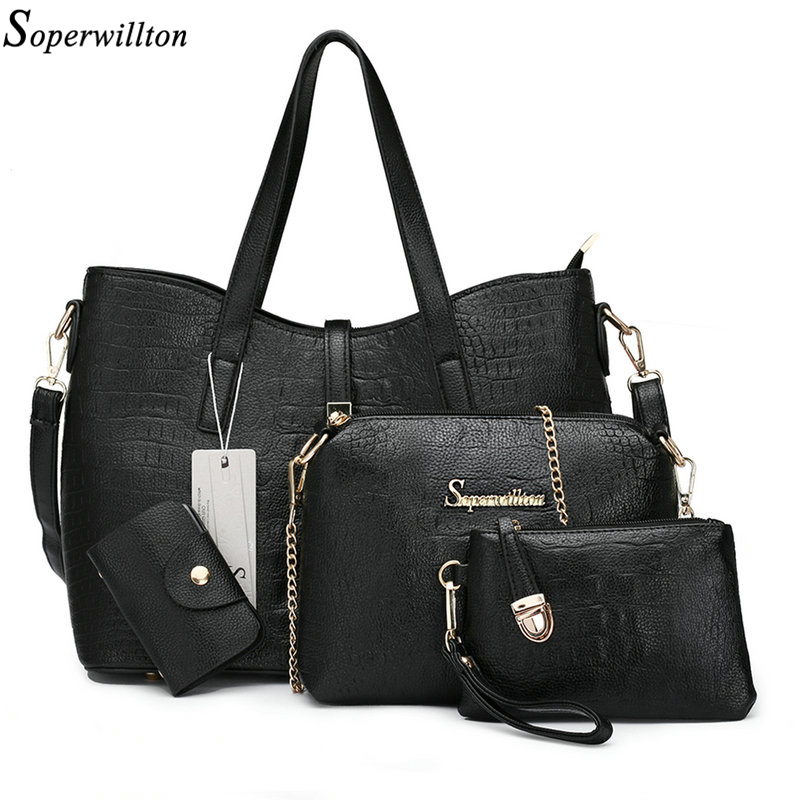 Soperwillton 2017 Brand New Bags Women 4 Pieces/Set Alligator Print PU Ladies Bags Brands Handbags & Crossbody For Female #1107