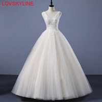 2018 New Arrival Lace Wedding Dress V NECK Beading Sequined Embroidery Puffy BackLESS Bride Dress Lace Up