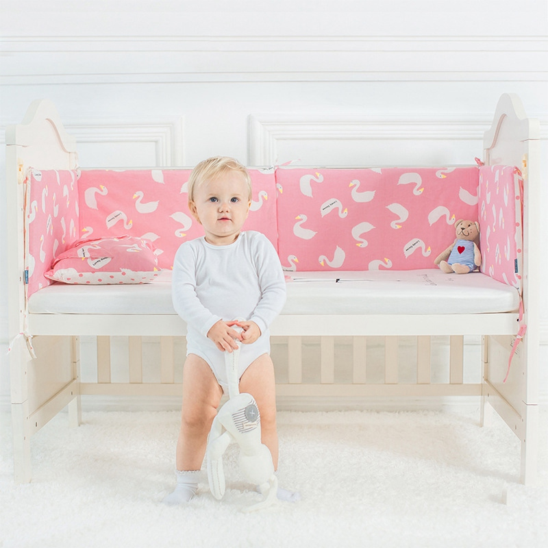 Baby Bed Bumper Cotton Cot Crib Bumper Protector for Cradle Knotted Toddler Bed Protecti ...