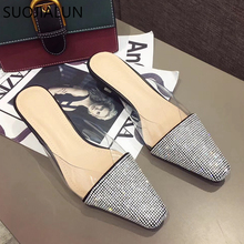 SUOJIALUN 2019 New Spring Summer Women Pointed Toe Mules Shoes Brand Bling Crystal Med Heel Slippers Sandal Outdoor Slipper