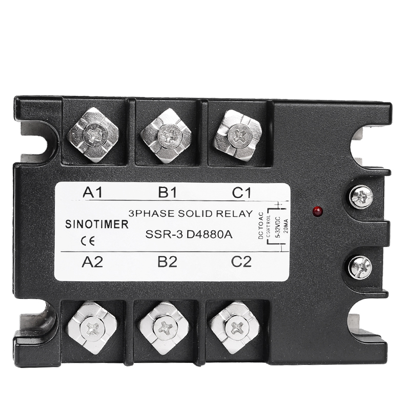 3 Phase Solid State Relay SSR SINOTIMER Brand D4880A 80A DC-AC 30-480V AC Output Module Switch Relay relais for Controller 3 phase solid state relay 60da ac output 3 32v dc to 30 480v ac 60a module switch relay relais dc ac d4860a