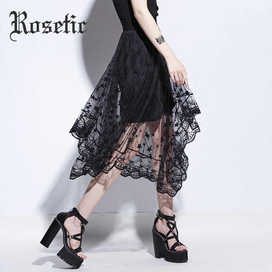 Rosetic Gothic Asymmetrical Skirt Black Summer Women Mesh Patchwork Star Hollow Skirt Sexy Young Fashion Party Gothic Maxi Skirt