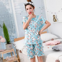 Female Home 2 Pieces Set Crop Top + Shorts Loose Elastic Waist Shorts Cartoon Print Women Pajama Sets Lounge pijama mujer 2019 цены
