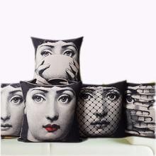 Vintage Fornasetti Art Beauty Face SKULL Custom Made Pillow Cover Black and WHite Pillow Case Pillow Cover Decorative Pillowcase