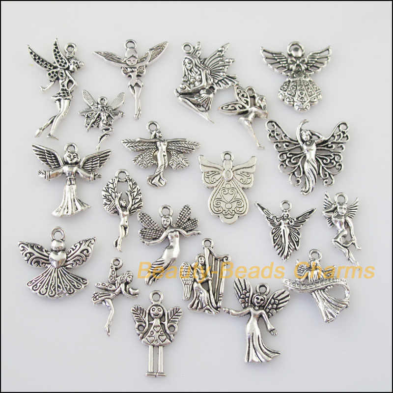 20Pcs Antiqued Silver Warna DIY/Lovely Angel Campuran Hiasan Liontin