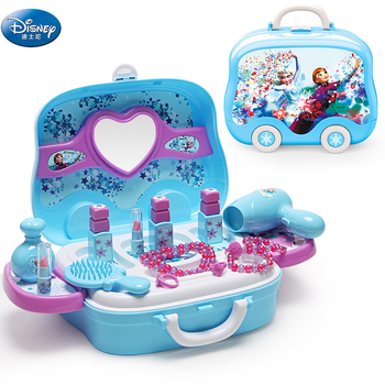 disney pretend play beauty fashion toys frozen child cosmetic set girl toy makeup box house eye shadow blush for kids gift Disney frozen elsa and anna Makeup set  Fashion House Simulation Dresser Toy Beauty pretend play for kids birthday gift