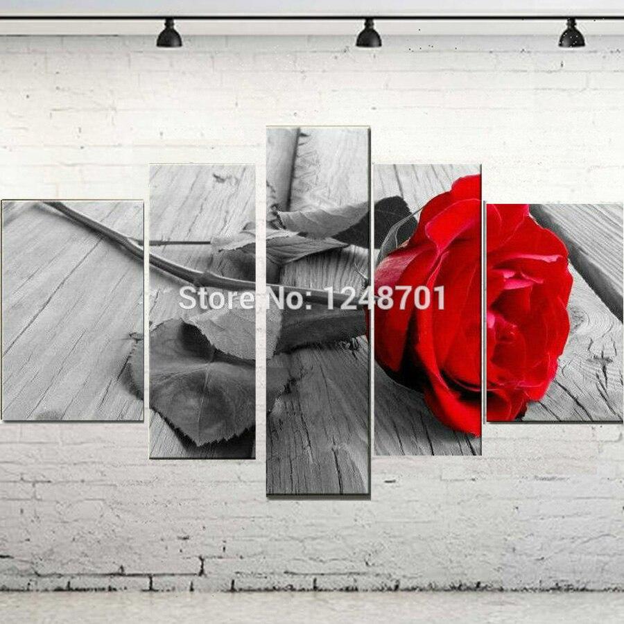 Ručně malované 5 kusů Moderní nástěnné umění plátno olejomalba dekorativní červená a modrá růže květ obraz obraz pro bytové dekorace