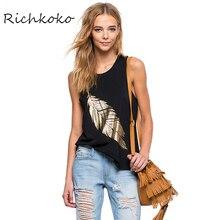 Richkoko Fashion Womens Black Sexy Loose Slim Plus Size Ladies Tops Cotton Sleeveless Print Casual Feminina for wholesale
