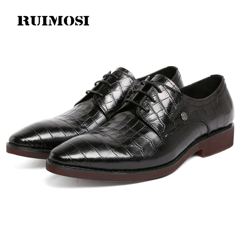 RUIMOSI Hot Sales Platform Man Bridal Dress Shoes Genuine Leather Stone Grain Wedding Oxfords Pointed Toe Derby Men's Flats BH81