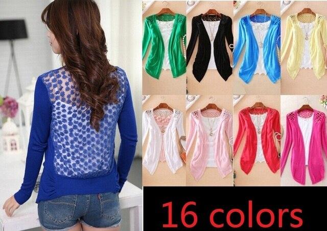 Venda quente 2015 nova moda feminina Cardigan venda mulheres Lace Sweet Candy Pure Color magro Crochet malha blusa Sweater